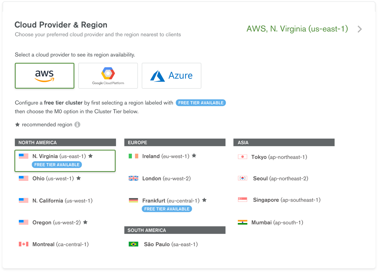 Deploy a MongoDB Atlas cluster in over 60 cloud regions on AWS, Azure or GCP