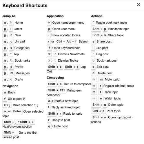 discourse-keyboard-shortcuts