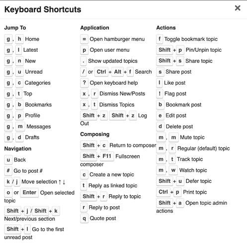 discourse-keyboard-shortcuts