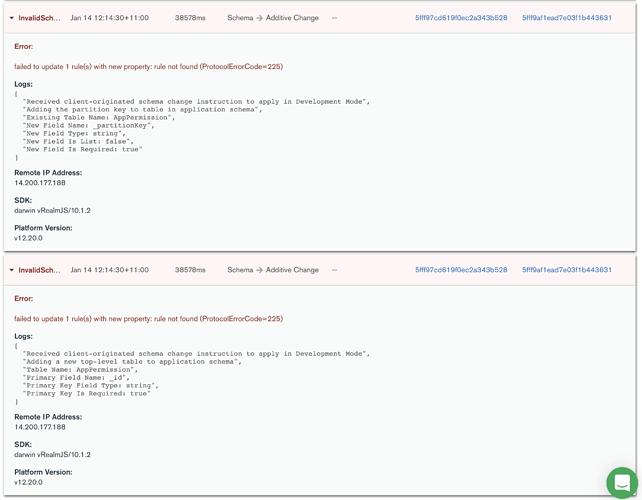 Sync Error - Invalid Schema