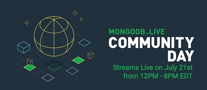 MongoDB Community Day Banner with date and time of event: July 21, 12pm - 8pm EDT