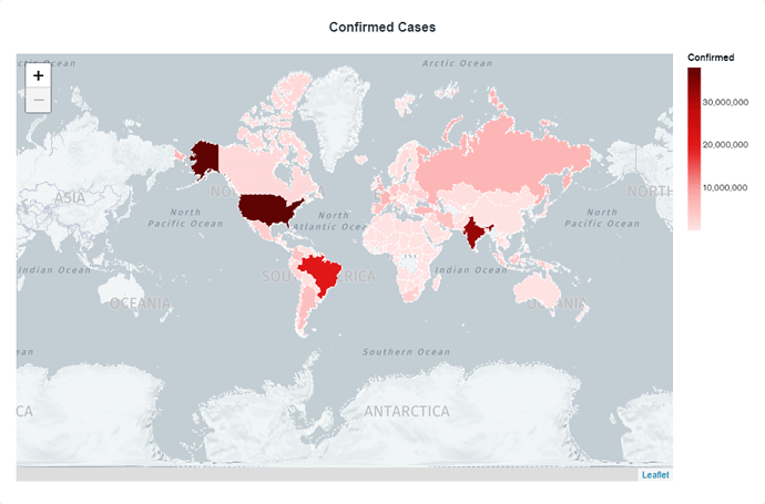 MongoDB Chart showing Confirmed Cases of Coronavirus in the world. A map is shown, with areas colored in to indicate severity of cases, ranging from less than ten million (lighter red) to over thirty million (darker red). Standout countries with highest cases are United States, India, and Brazil, respectively.