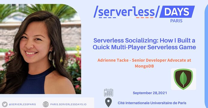 Speaker announcement card for Adrienne Tacke at ServerlessDays Paris. Happening on September 28, 2021. Talk title: Serverless Socializing: How I Built a Quick Multi-Player Serverless Game