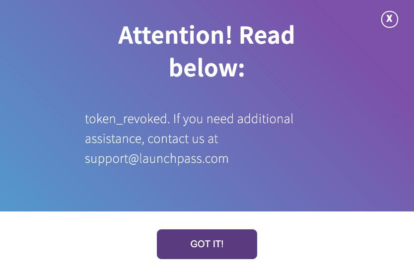 Attention! Read below: token_revoked...