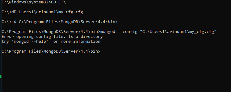 Inability to create my own config file under different directory