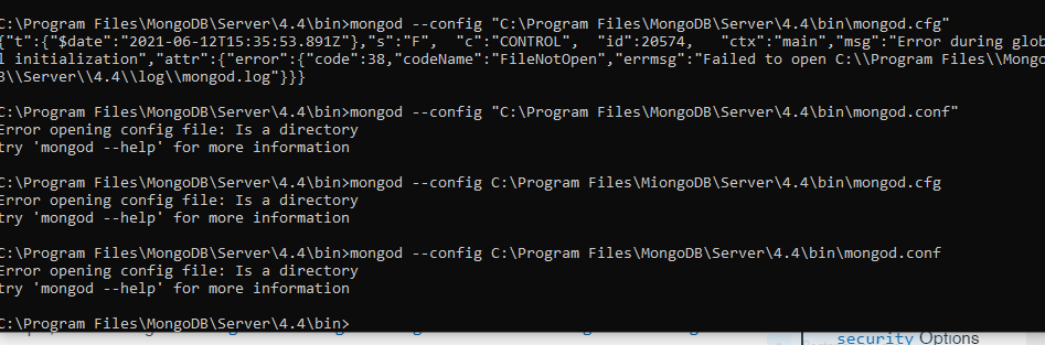 Errors while configuring mongod from Command Prompt