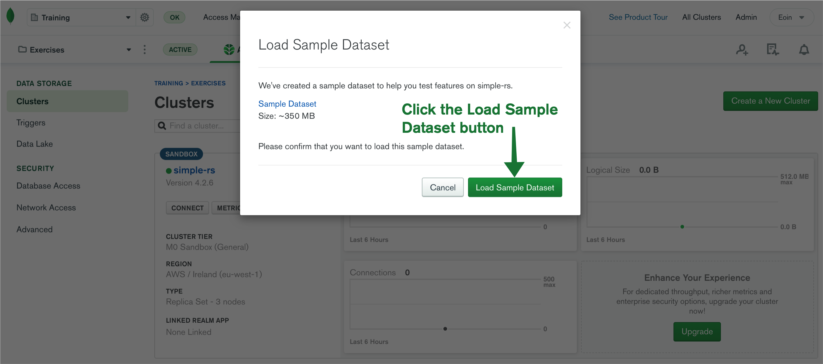 "Click the button ""Load Sample Dataset"""