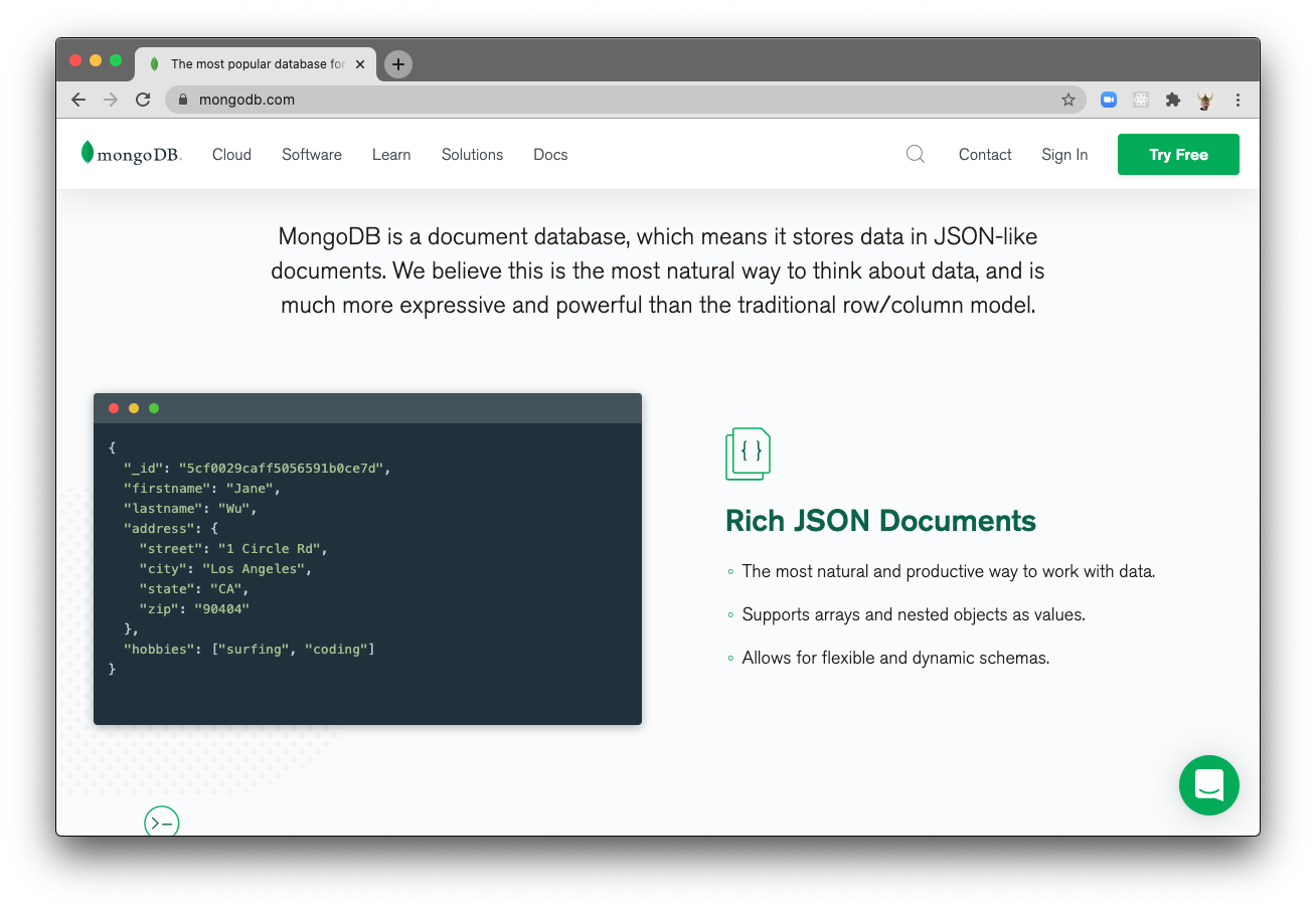 The MongoDB homepage, at time of writing, says that MongoDB is a JSON database.