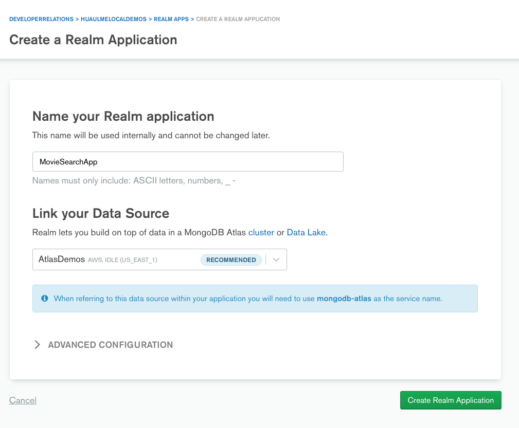 Create a new Realm Application