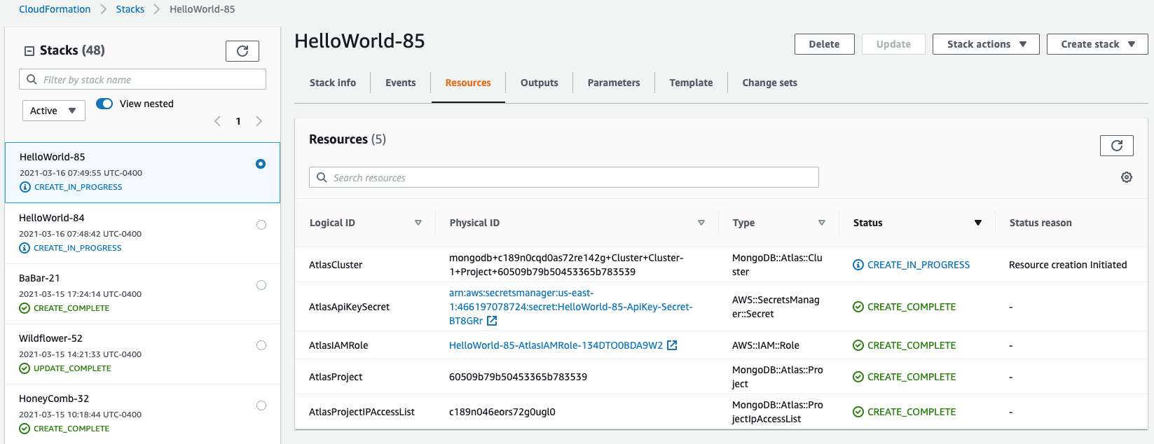 View and manage MongoDB Atlas resources from the AWS CloudFormation console.