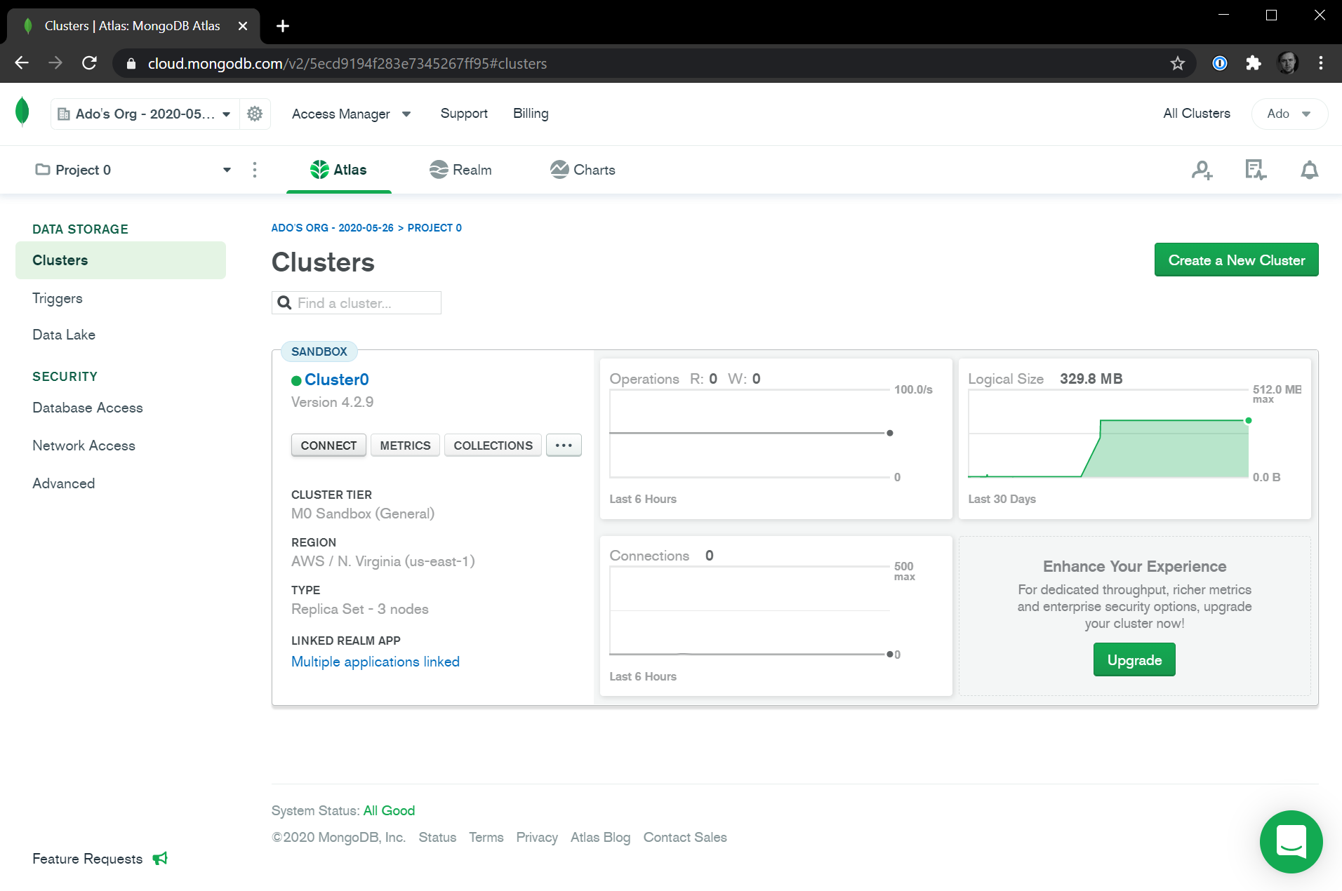 MongoDB Atlas Connect Cluster
