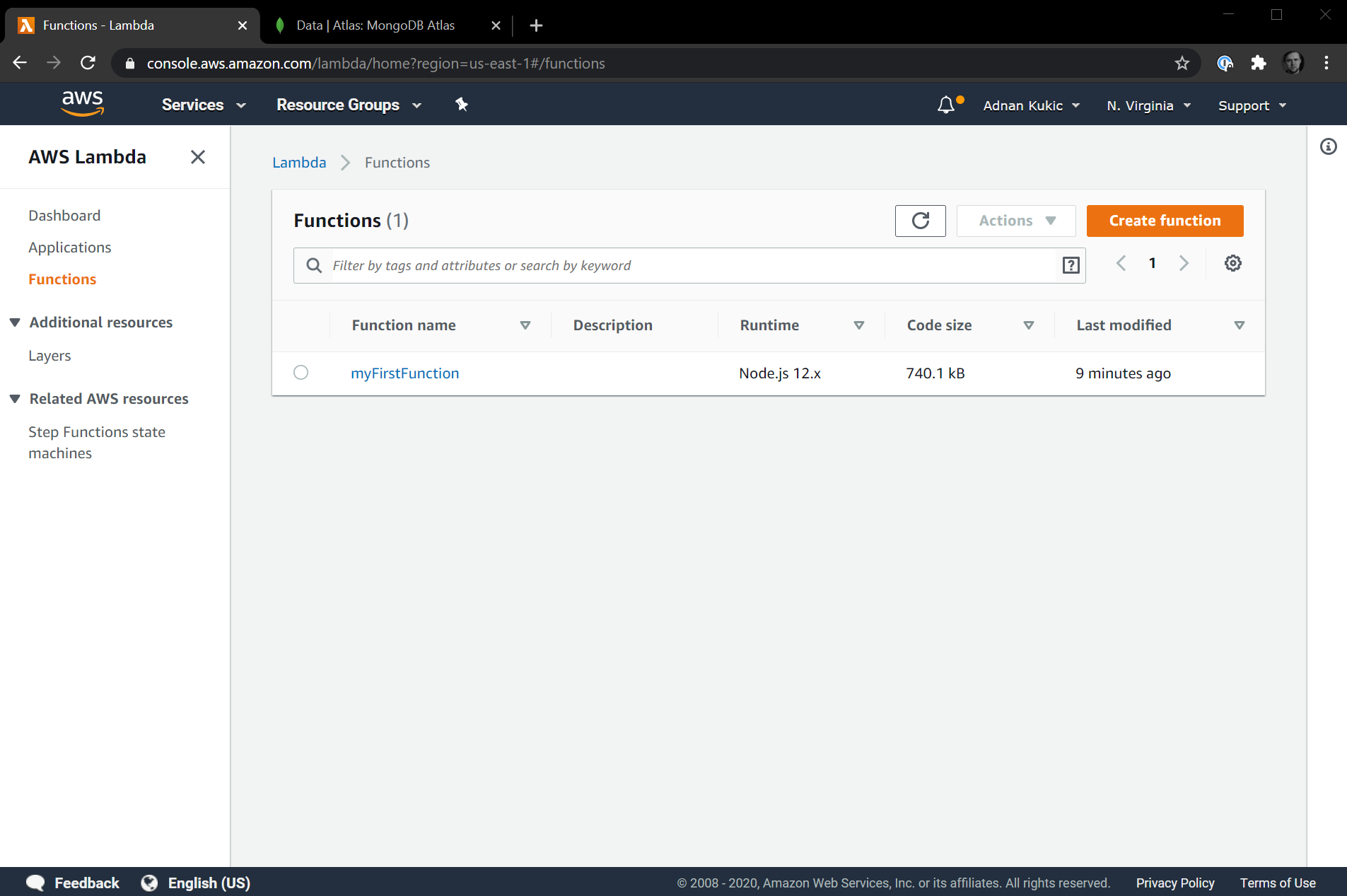 AWS Lambda Homepage with Function