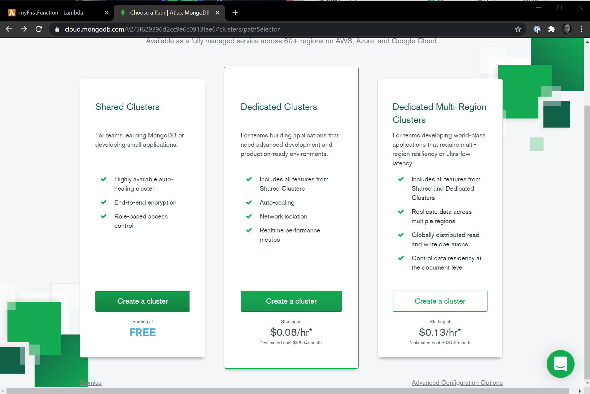 MongoDB Atlas Cluster Selection