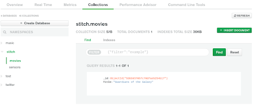 Collection Stitch Movies in MongoDB Atlas