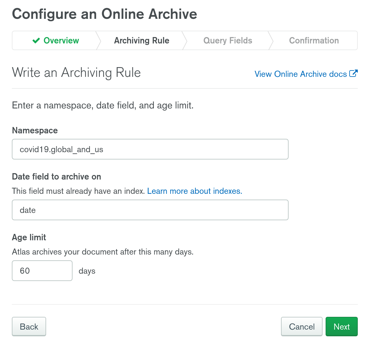 MongoDB Atlas Online Archive archiving rule