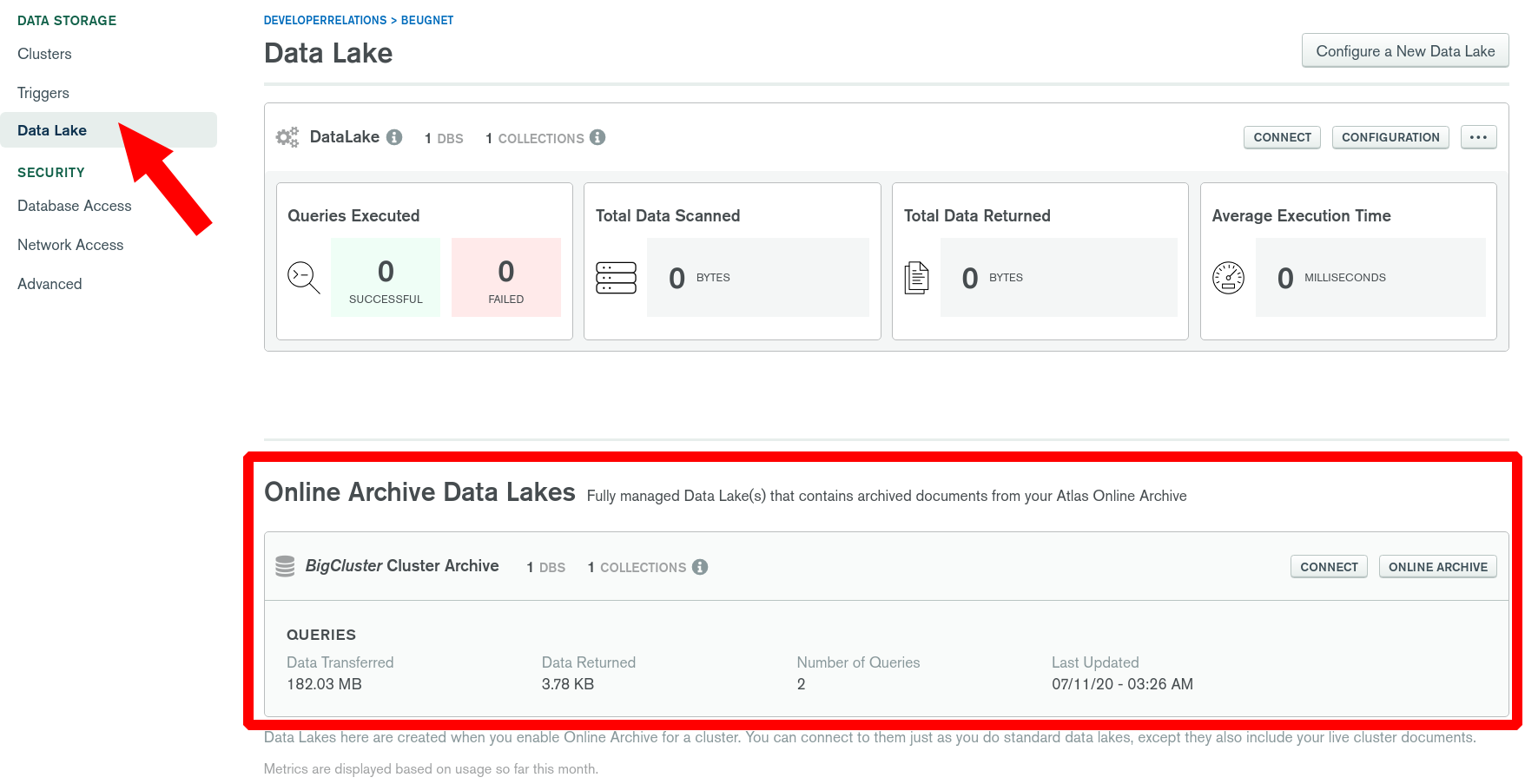 Data Lake already configured for Online Archive