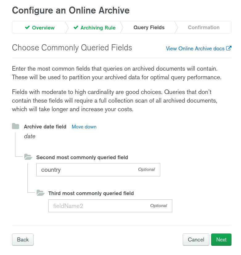 MongoDB Atlas Online Archive partitioning fields