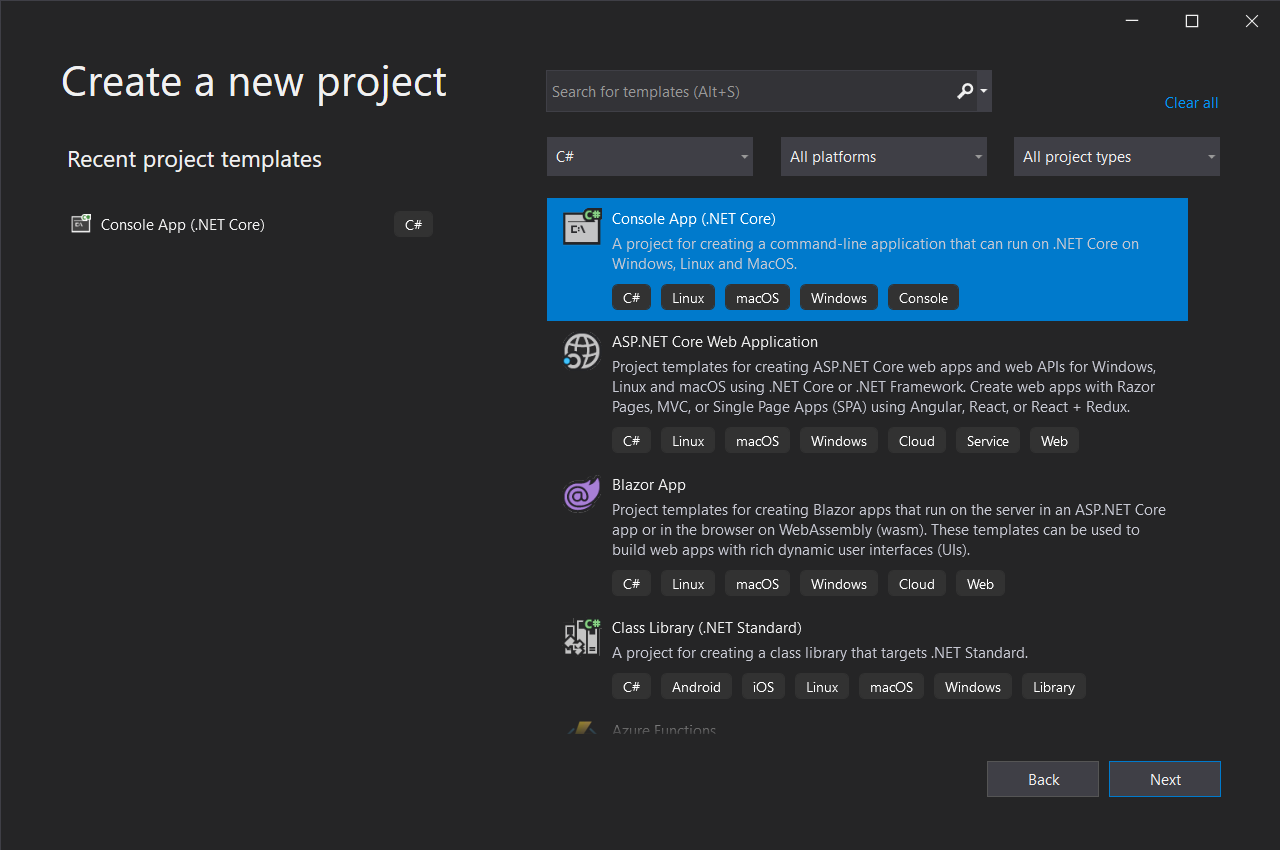 Visual Studio 2019 create a new project prompt; Console App (.NET Core) option is highlighted.