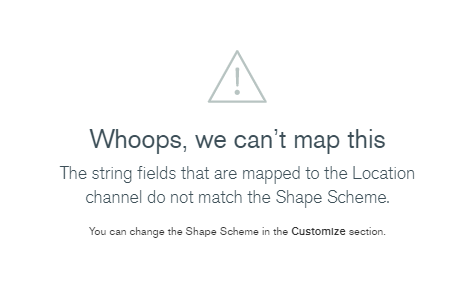 An error message, saying that the shapes in the data don't match the shapes in MongoDB Charts.