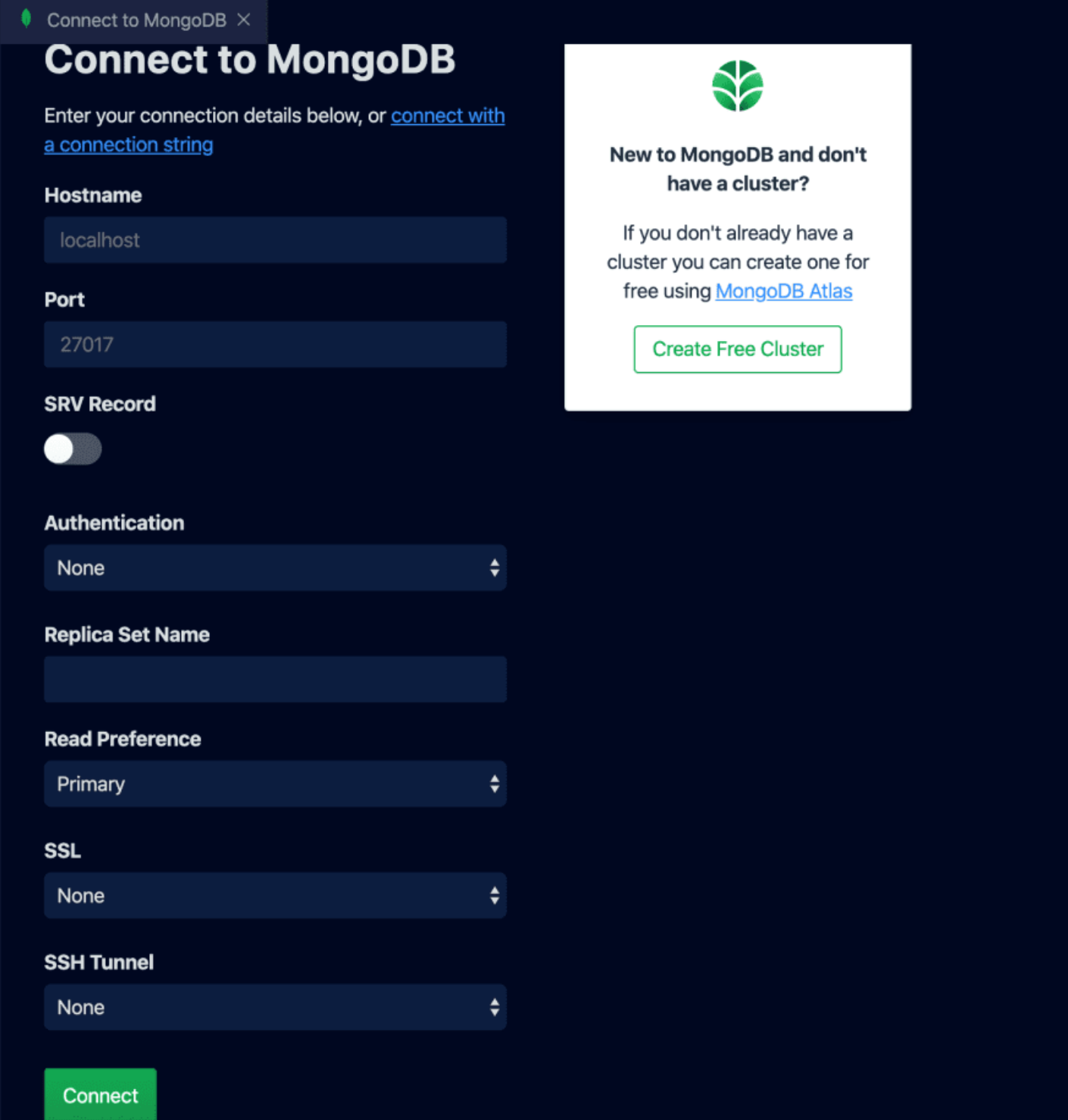 Screenshot of the 'Connect to MongoDB' screen in VS Code.