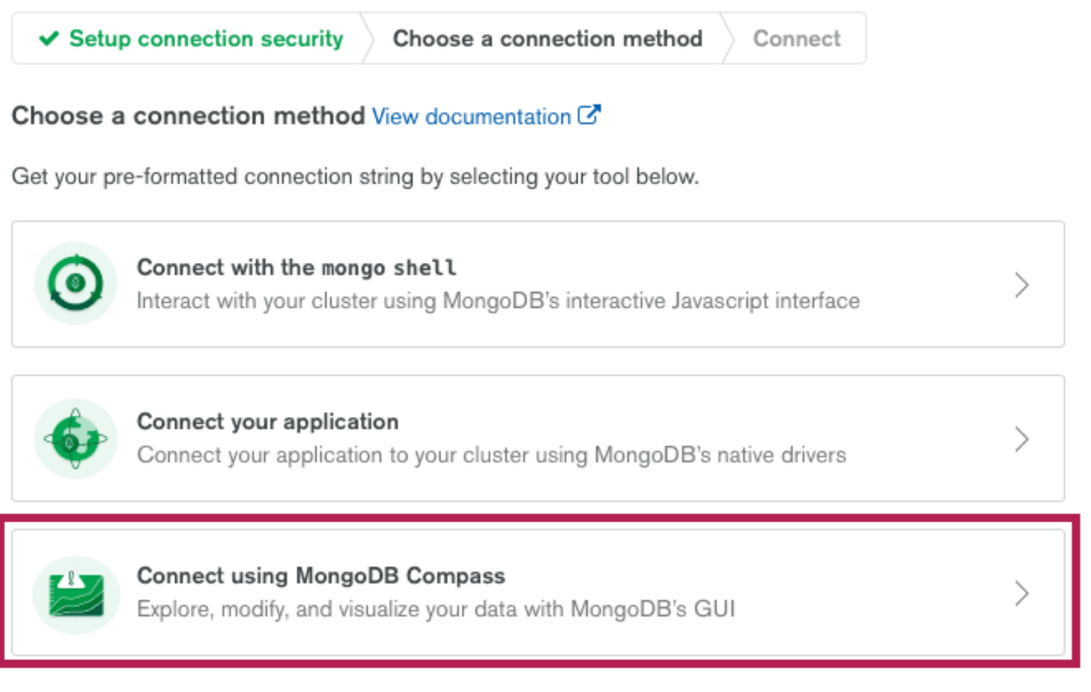 Screenshot of the 'Choose a connection method' screen on MongoDB Atlas, with a box highlighting the 'Connect using MongoDB Compass' button.