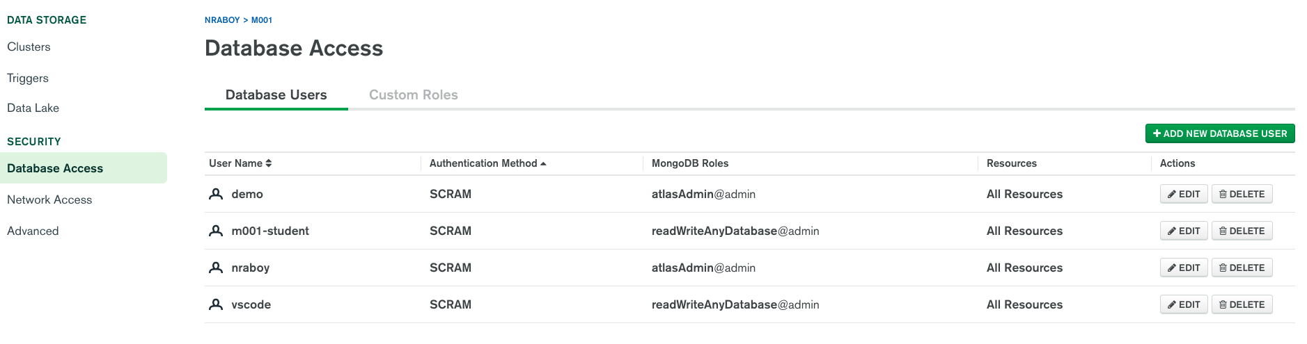 Add users with access permissions to a MongoDB Atlas cluster