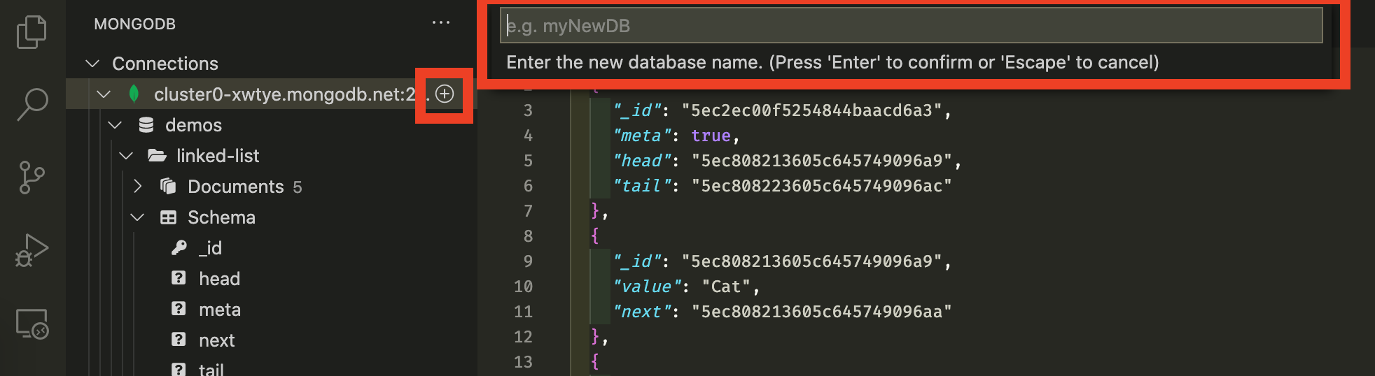 Screenshot showing how to create a new database in VS Code. A red box highlights the plus button next to your cluster name,.