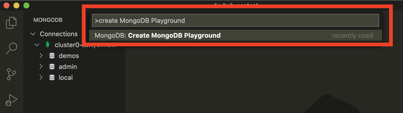 Screenshot showing the 'Connect to MongoDB' page within the MongoDB Visual Studio Code plugin.