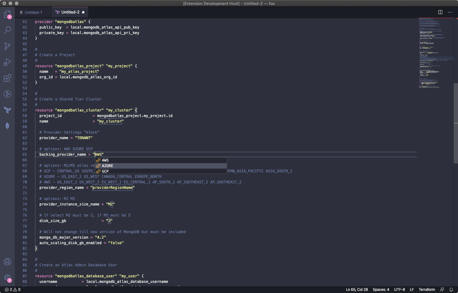Screenshot showing the Terraform capabilities of the MongoDB VS Code Plugin.