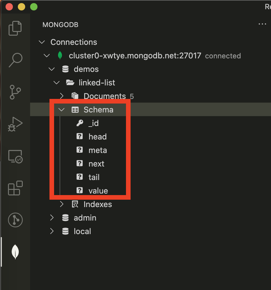 Screenshot showing schema navigation in VS Code
