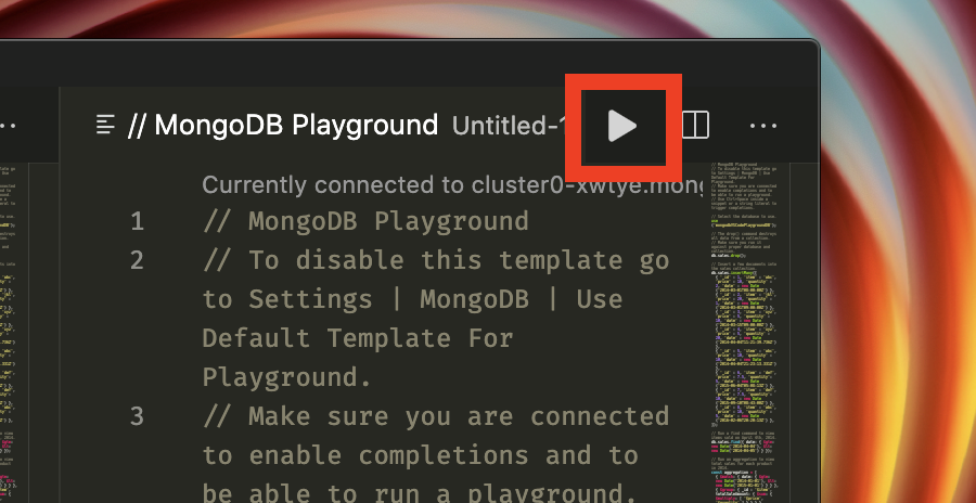Screenshot showing how to run a playground, a red box highlights the Play Button in Visual Studio Code's top navigation bar.