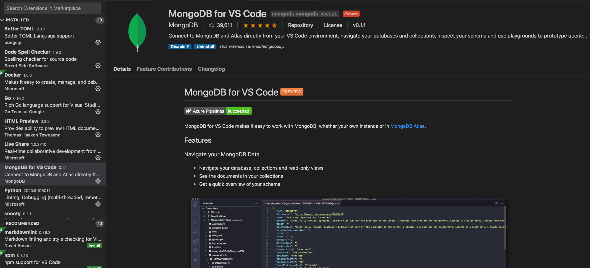 Install the MongoDB Visual Studio Code Extension
