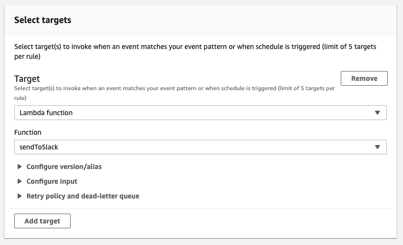 Configure EventBridge rule to route events to the Lambda function