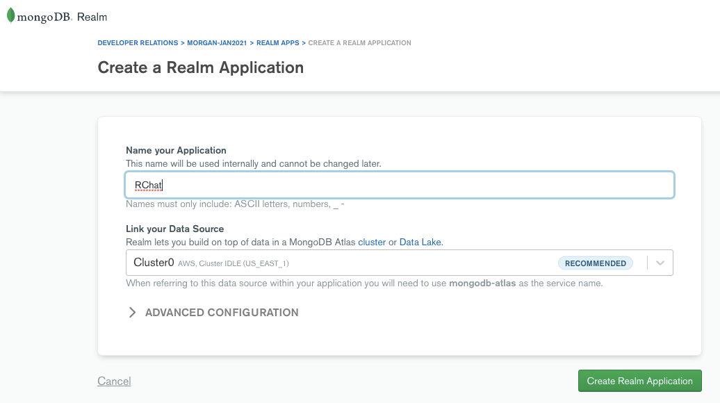 "Create a new Realm backend app – name it ""RChat"""